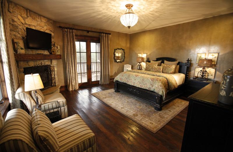 Suite room with fireplace at Morrell Ranch.