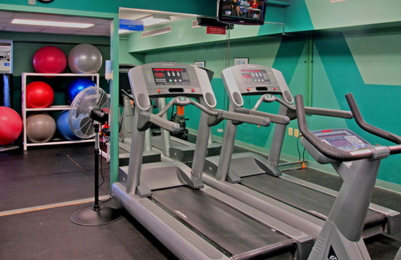 Fitness center at Colony South Hotel.