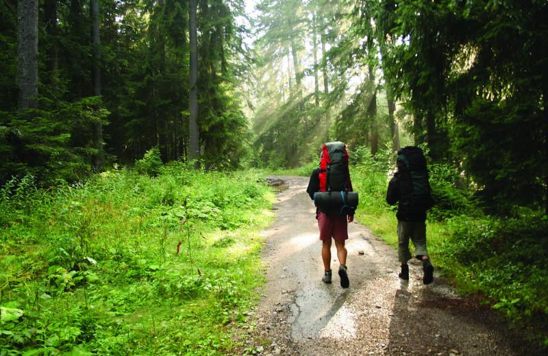 Hiking at Lund Resort at Klah ah men.