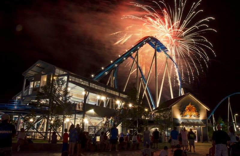 Holiday fireworks at Cedar Point Resort.