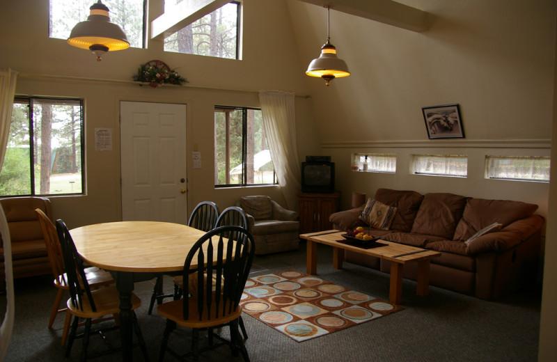 Cabin living room at Echo Basin Cabin And RV Resort.