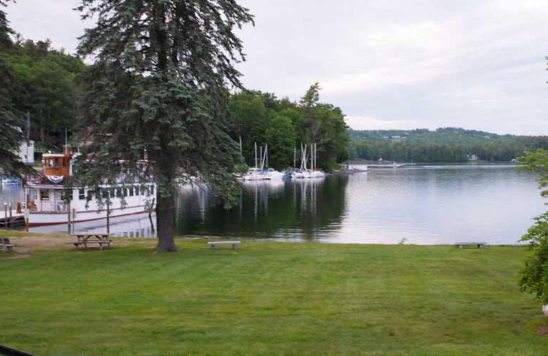 Lake view at Sunapee Harbor Cottages.