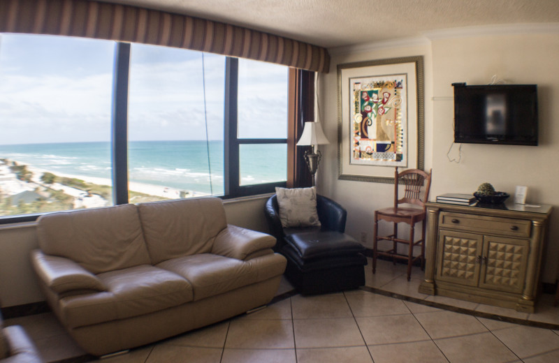 Guest living room at The Alexander All Suite Oceanfront Resort.
