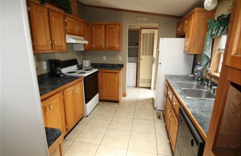 Vacation rental kitchen at Island Club Rentals.