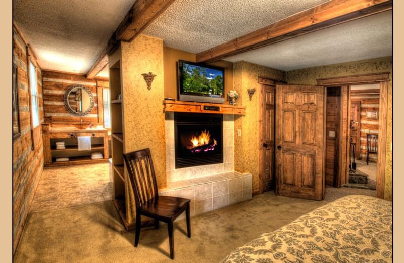Cabin bedroom at Hidden Creek Cabins.