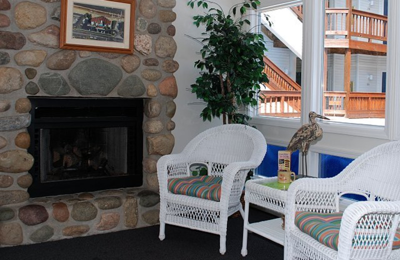 Vacation rental fireplace at The Beach Condominiums Hotel-Resort.