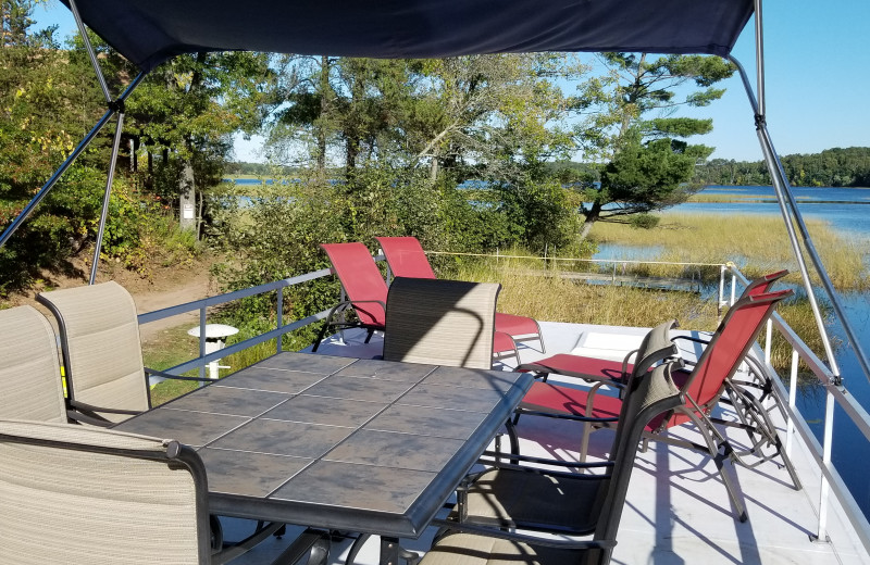 Houseboat patio at Niemeyer's Rugged River Resort.