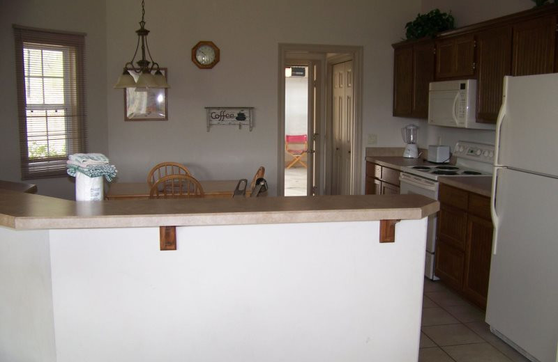 Rental kitchen at Village Villas Vacation Rentals.