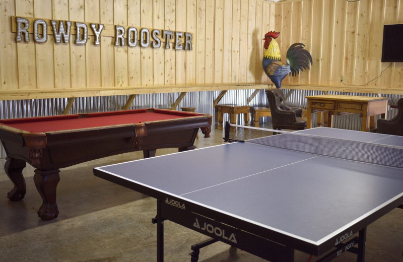 Rental recreation room at White Glove Luxury Cabins.