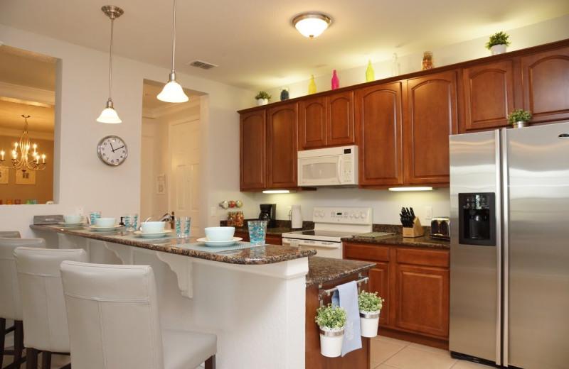 Rental kitchen at Orlando Luxury Escapes Vacation Rentals.