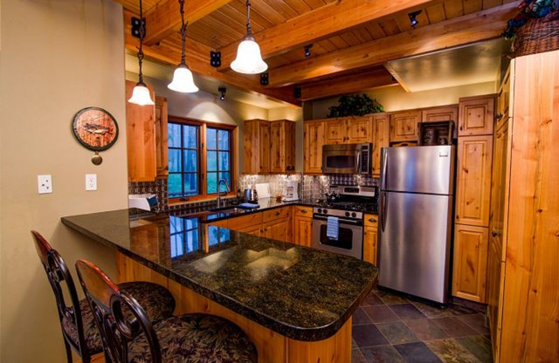 Rental kitchen at Black Diamond Vacation Rentals.