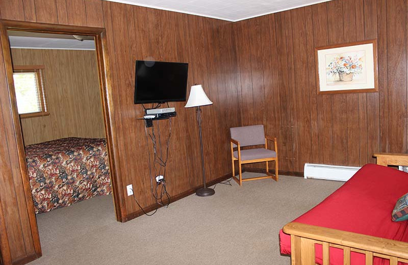 Motel living room at Popp's Resort.