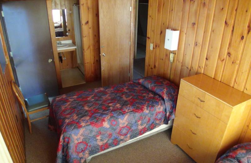 Cabin bedroom at Fair Hills Resort.
