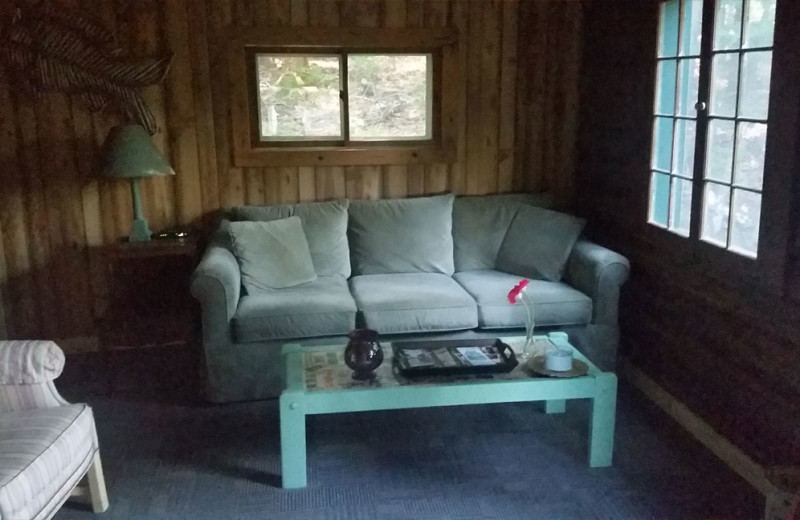 Cabin living room at Spooky Bay Resort.