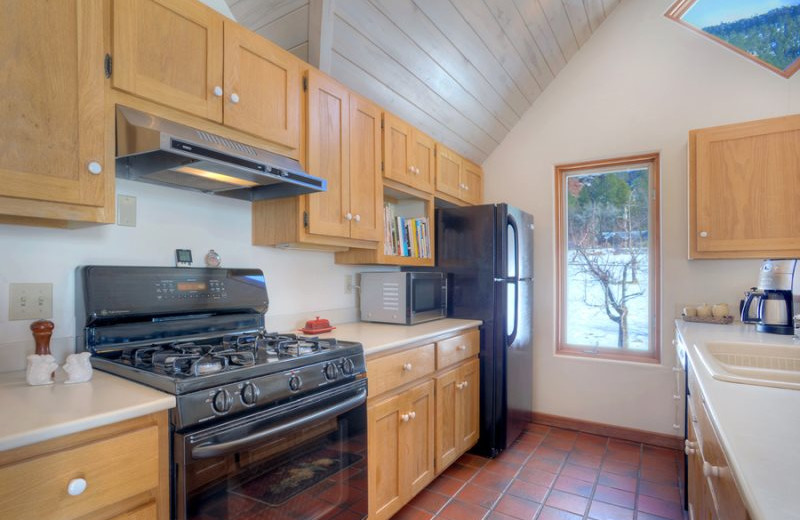 Rental kitchen at Hill Country Lake House.