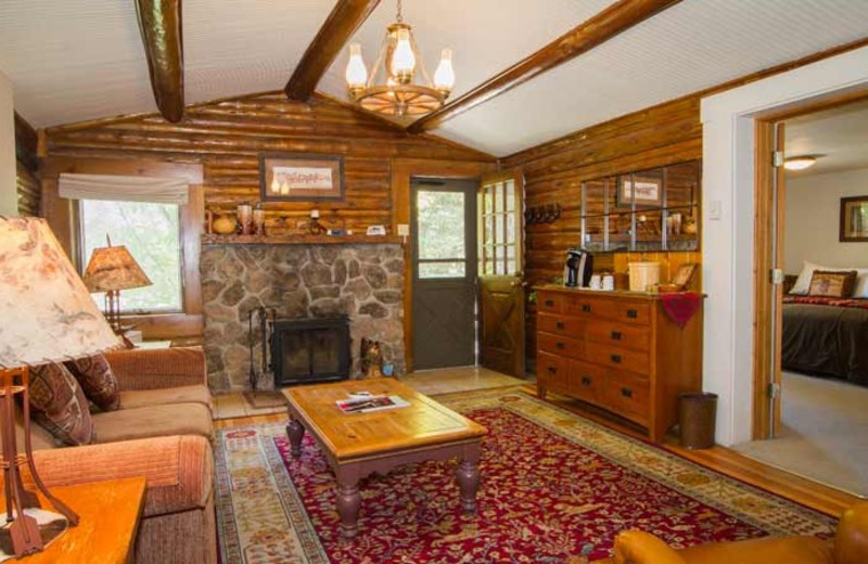 Cabin living room at C Lazy U Ranch.
