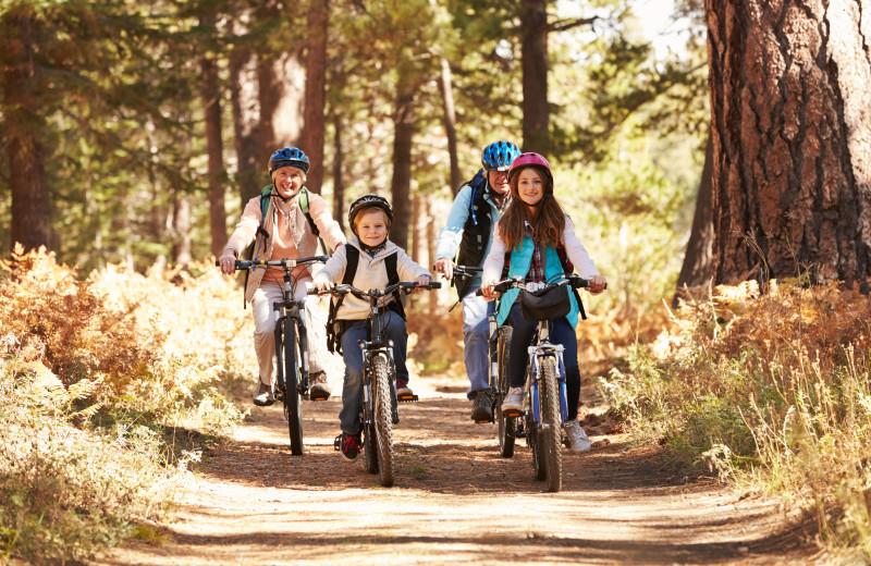 Family biking at Idyllwild Vacation Cabins.
