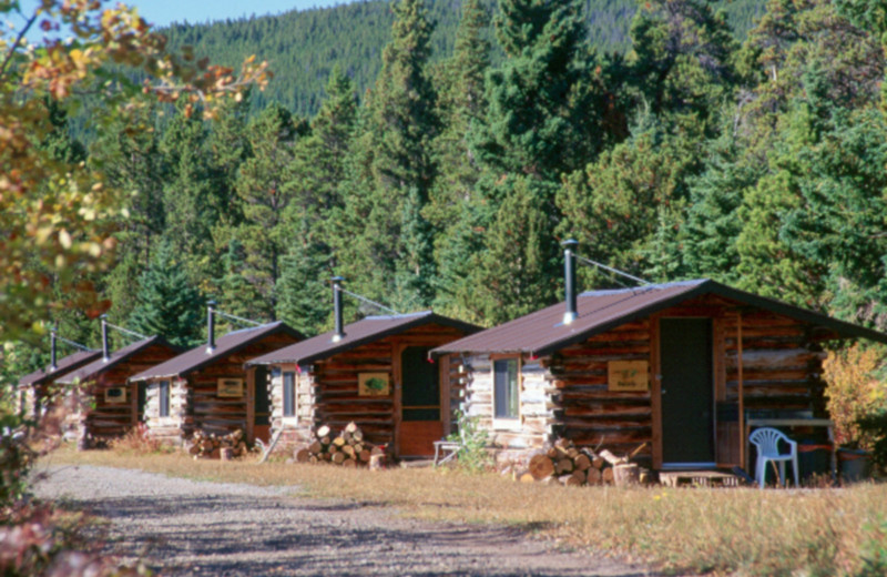 Cabin exterior at Chaunigan Lake Lodge.