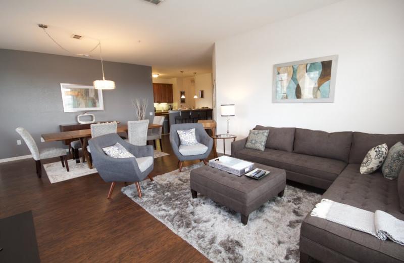 Rental living room at Orlando Luxury Escapes Vacation Rentals.