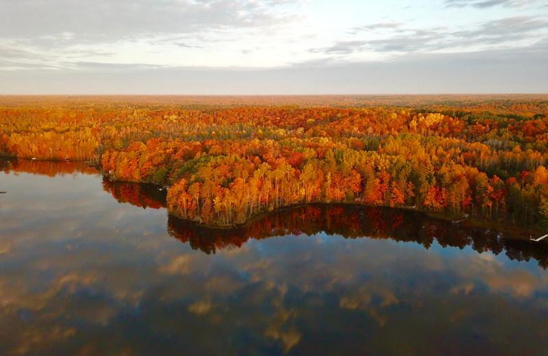 Fall colors at Hanging Horn Lakeside Resort.