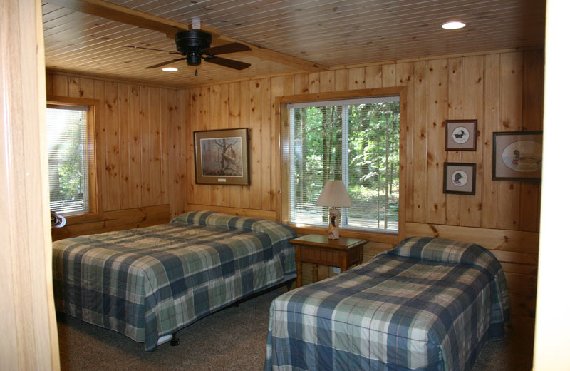 Cabin bedroom at White Birch Village Resort.