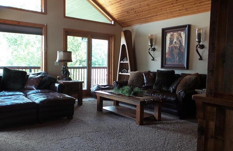 Cabin living room at Nitschke's Northern Resort.