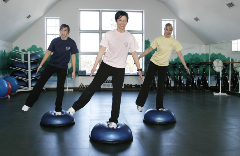 Step aerobics at Heartland Spa & Fitness Resort.