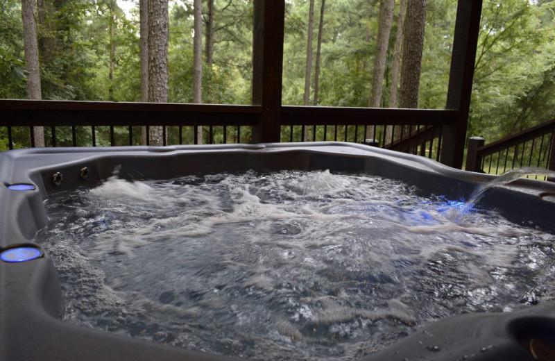 Rental hot tub at White Glove Luxury Cabins.