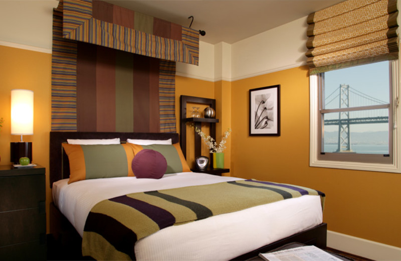 Guest room at Harbor Court Hotel.