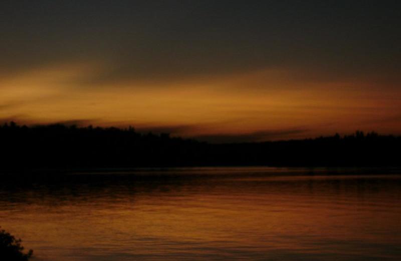 Sunset over lake at Tamarack Resort.
