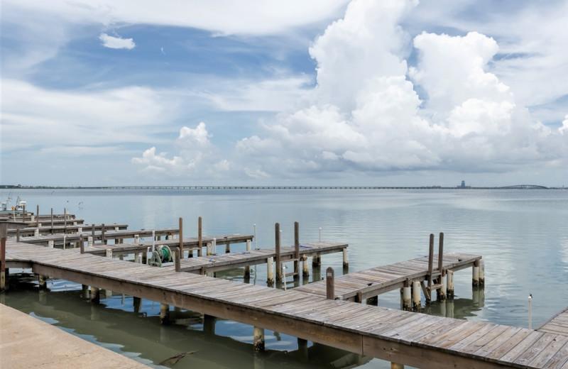 Dock at Padre Getaways.