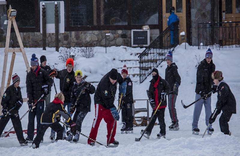 Hockey at Golden Arrow Lakeside Resort.