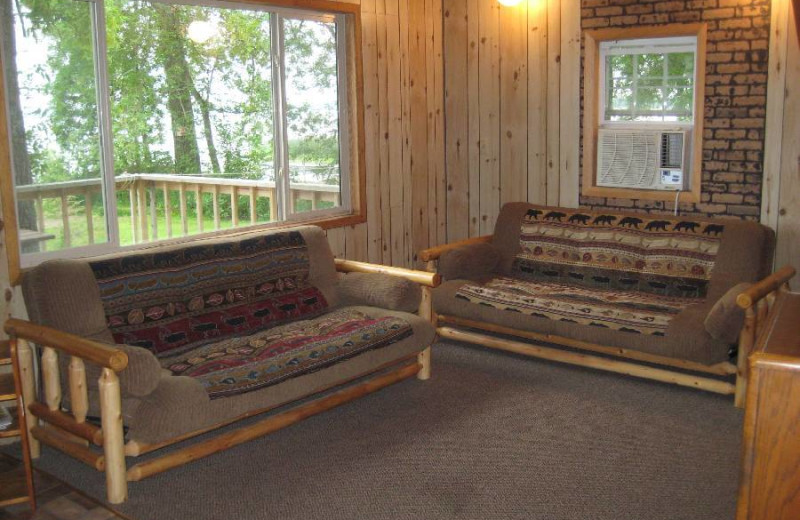 Cabin living room at Hook Line & Sucher Resort.