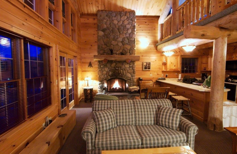 Cabin living room at Trout House Village Resort.