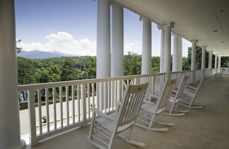 Rocking chairs at historic Lambuth Inn offer mountain and lake views at Lake Junaluska Conference and Retreat Center.