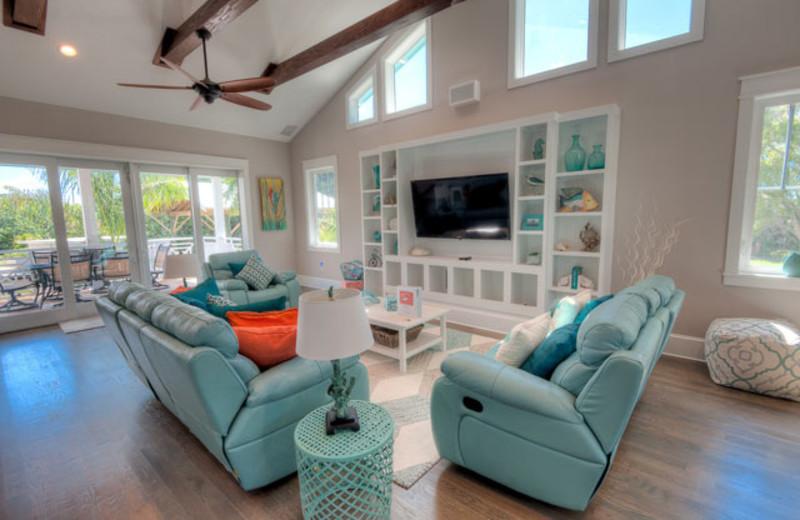 Rental living room at Anna Maria Vacations.