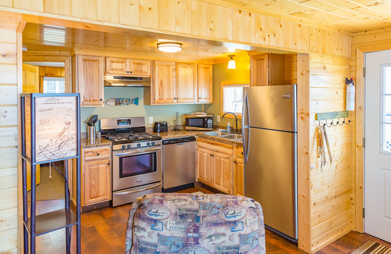 Cabin kitchen at Ten Mile Lake Resort.