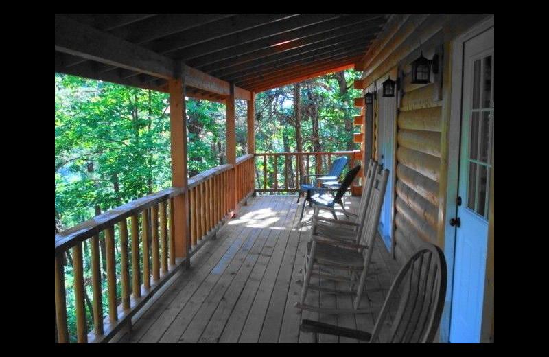 Cabin deck at Pine Ridge Log Cabins.