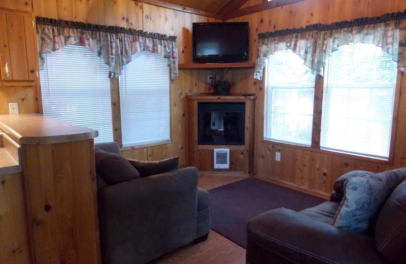 Cabin living room at Copper John's Resort.