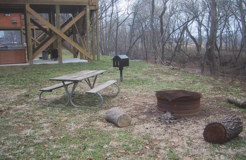 Cabin picnic at Gander Island River Log Cabins.