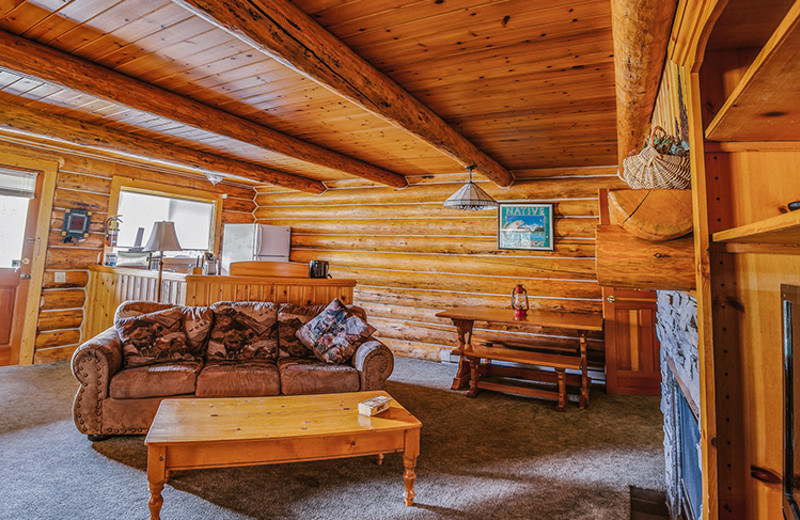 Cabin living room at Great Northern Resort.