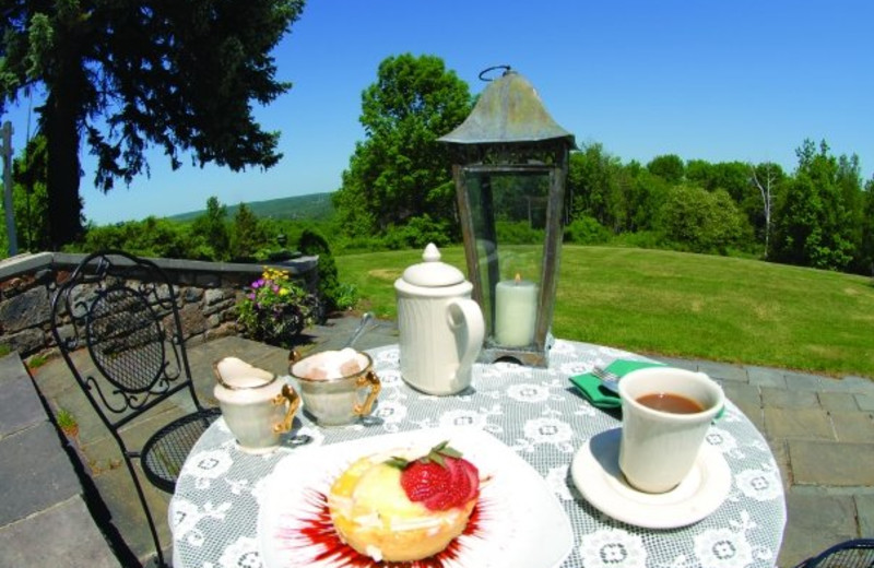Outdoor breakfast on patio at The French Manor Inn.