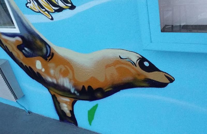 Seal mural at Aqua Breeze Inn.