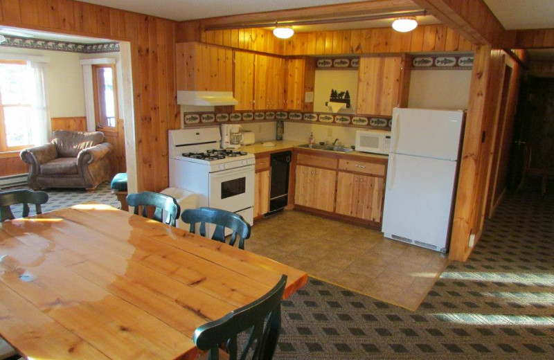 Guest kitchen and dining at Elbow Lake Lodge.