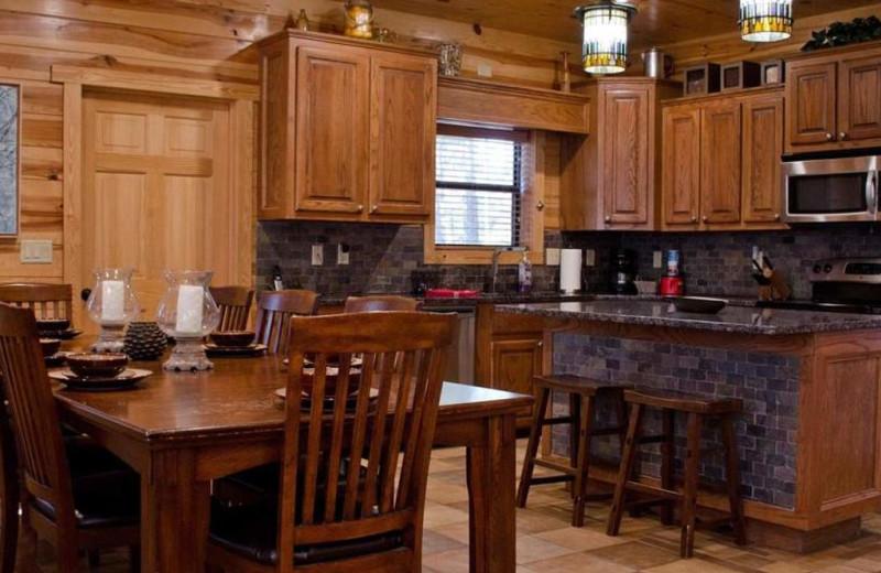 Cabin kitchen at Lake Mountain Cabins.