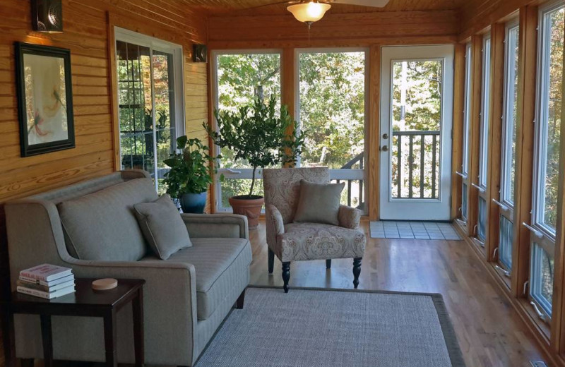 Guest porch at Beaver Lakefront Cabins.