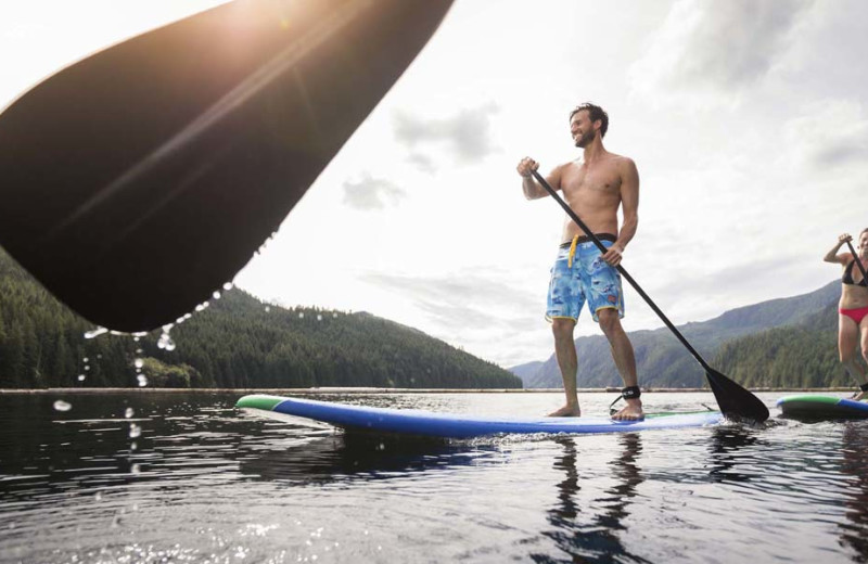 Paddle boarding at Sonora Resort and Conference Centre, Canada.