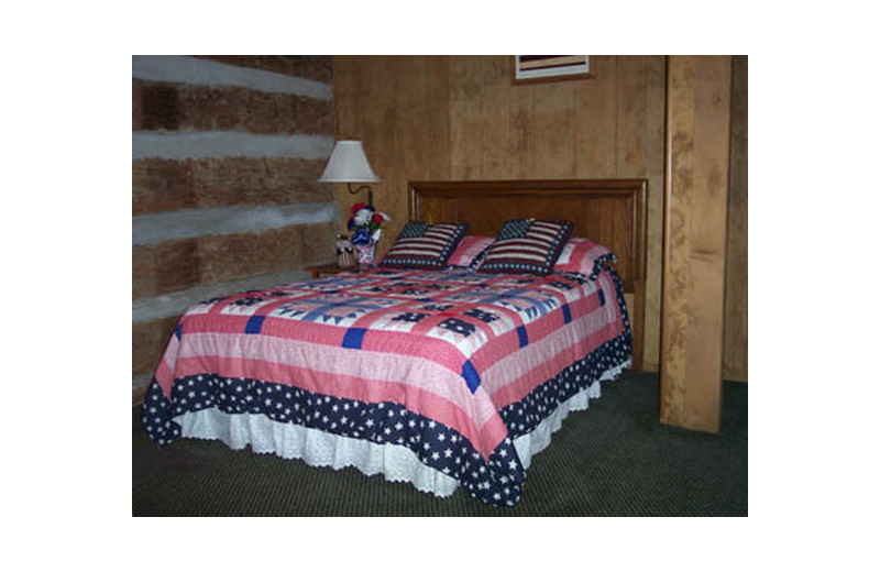 Cabin bedroom at Hocking Hills Cozy Cabins.