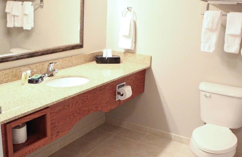 Guest bathroom at GrandStay Perham.