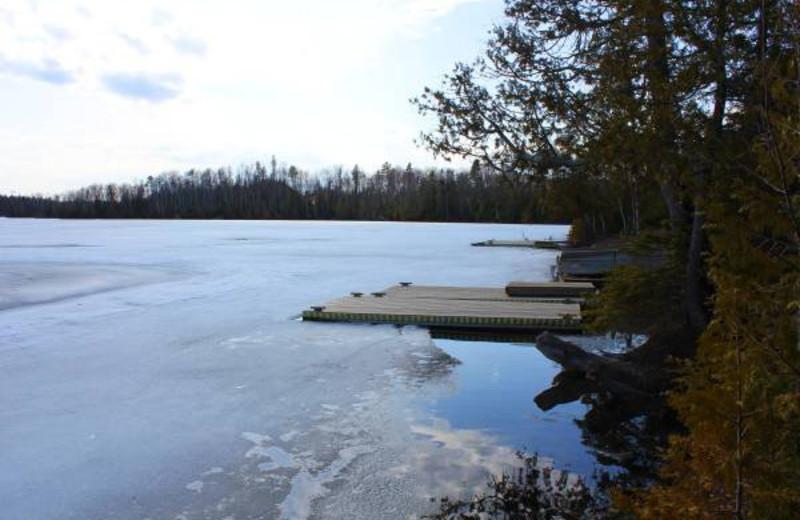 Frozen lake at Golden Eagle Lodge.
